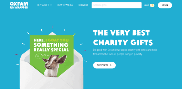 Oxfam Unwrapped. Charity Gifts